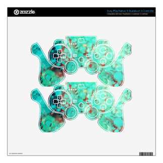 Bubblicious XIII Teal Red and Orange Abstract PS3 Controller Decal