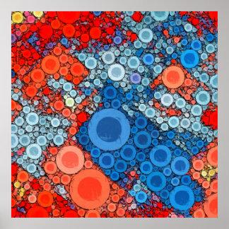Bubblicious XVII en rojo, azul, anaranjado, y Póster