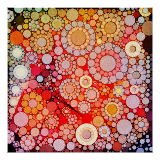 Bubblicious XXII Yellow Red Abstract Poster