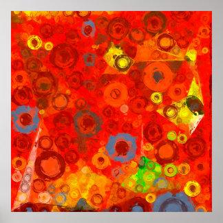 Bubblicious XXIV rojo, azul, anaranjado, y blanco Póster