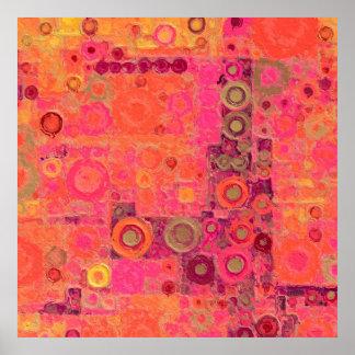 Bubblicious XXVII red, blue, orange Poster