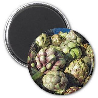Bubbling Blue Pot of Artichokes 2 Inch Round Magnet