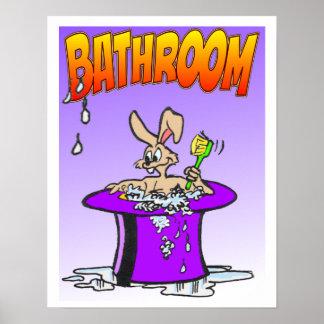 Bubbling Bunny Bathroom Poster