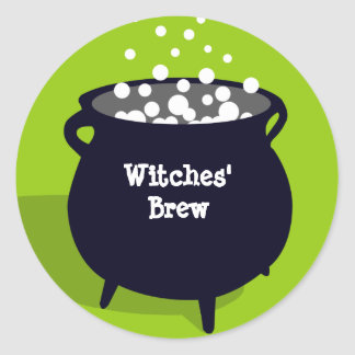 Bubbling cauldron ghoulish green Halloween label Stickers