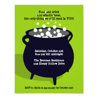 Bubbling cauldron ghoulish green Halloween party Card
