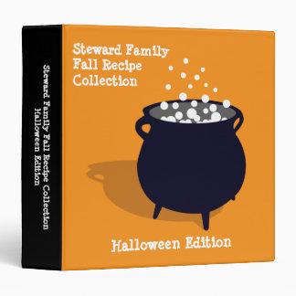 Bubbling cauldron potion orange Halloween recipe 3 Ring Binders