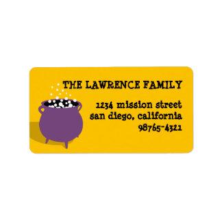Bubbling cauldron potion yellow Halloween address Address Label