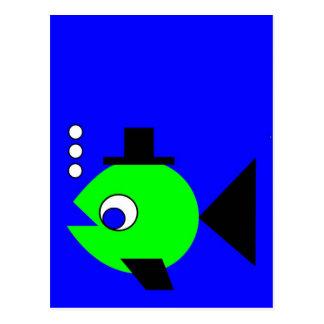 Bubbling Hat Fish Postcard