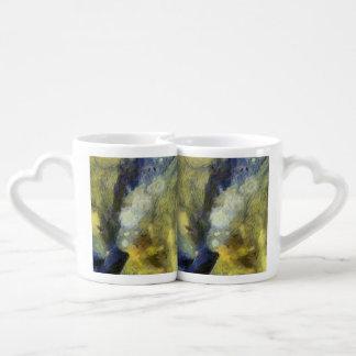 Bubbling of air inside an aquarium couples' coffee mug set
