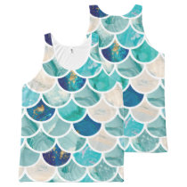 Bubbly Aqua turquoise marble mermaid fish scales All-Over-Print Tank Top