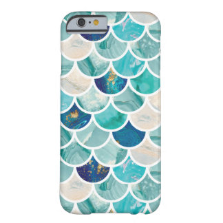 Bubbly Aqua turquoise marble mermaid fish scales Barely There iPhone 6 Case