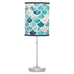 Bubbly Aqua turquoise marble mermaid fish scales Desk Lamp