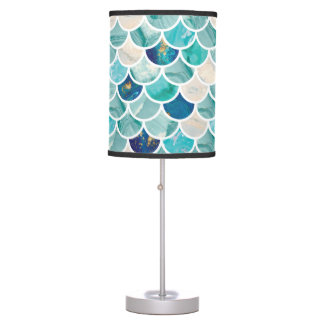 Bubbly Aqua turquoise marble mermaid fish scales Desk Lamp