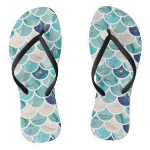 45e1a3669bed3 Bubbly Aqua turquoise marble mermaid fish scales Flip Flops