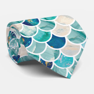 Bubbly Aqua turquoise marble mermaid fish scales Neck Tie