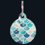 """Bubbly Aqua turquoise marble mermaid fish scales Pet Tag<br><div class=""""desc"""">Bubbly Aqua turquoise marble mermaid fish scales for your everyday marine themed stylish glam. Great for summer,  beach life and make everyday occasion special!</div>"""