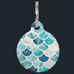 "Bubbly Aqua turquoise marble mermaid fish scales Pet Tag<br><div class=""desc"">Bubbly Aqua turquoise marble mermaid fish scales for your everyday marine themed stylish glam. Great for summer,  beach life and make everyday occasion special!</div>"