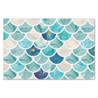 Bubbly Aqua turquoise marble mermaid fish scales Tissue Paper