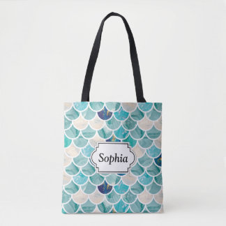 Bubbly Aqua turquoise marble mermaid fish scales Tote Bag