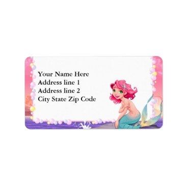 Bubbly beach summer cartoon mermaid photo frame label