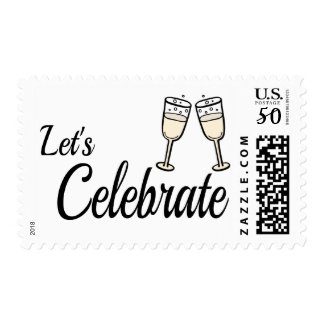 Bubbly Black And White Celebrate Champagne Wedding Postage