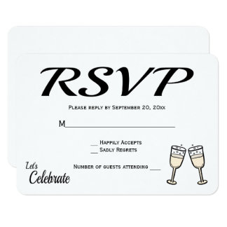 Bubbly Black, White RSVP Wedding Champagne Glasses Card
