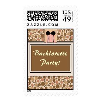 Bubbly Brown Corset Bachelorette Wedding Invite, B Stamps