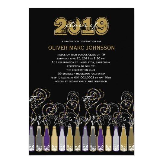 Bubbly Celebrations Graduation Grad Party Invite