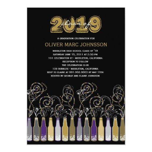 Bubbly Celebrations Graduation Grad Party Invite Personalized Announcement