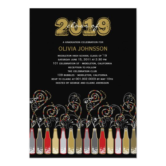 Bubbly Celebrations Graduation Photo Party Invite