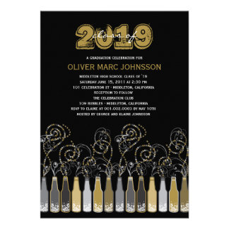 Bubbly Celebrations Graduation Photo Party Invite Personalized Invite
