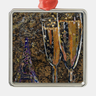 Bubbly - champagne collage art metal ornament