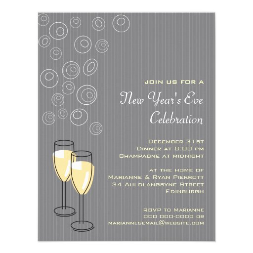 Bubbly Champagne New Years Invitation