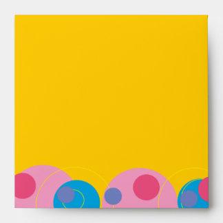 Bubbly Circles Pink Kid's Birthday Custom Envelope