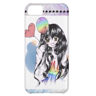 Bubbly, Cute, Rainbow Anime Girl! iPhone 5C Cases