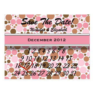 Bubbly Pink & Brown Save the Date Custom Calandar Postcard