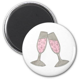 Bubbly Pink Champagne Glass Cheers Wedding Magnet