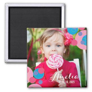 Bubbly Pink Circles Birthday Custom Photo Magnet