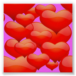 BUBBLY RED CINNAMON HEARTS LOVE HEARTS SQUARES GRE POSTERS