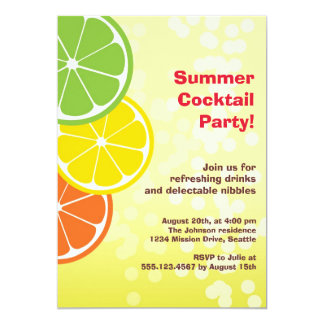 Bubbly refreshing drink citrus slice summer party card
