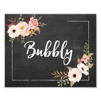 Bubbly Rustic Chalkboard Floral Wedding Sign Photo Print