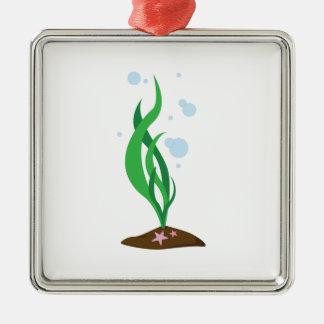 Bubbly Sea Plant Silver-Colored Square Ornament