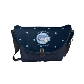 Bubbly's swimming with whale small messenger bag