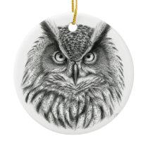 Bubo bubo owl ceramic ornament