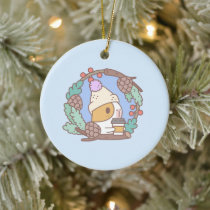 Bubu the Guinea Pig, Coffee Break Ceramic Ornament
