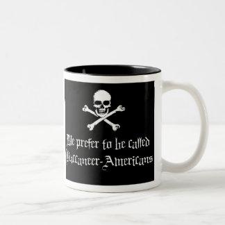 Bucanero-Americanos, charla como un día del pirata Taza De Café De Dos Colores