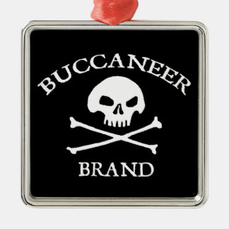 Buccaneer Brand Square Metal Christmas Ornament