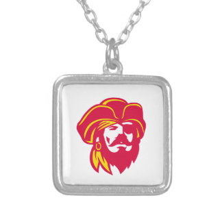 Buccaneer Captain Looking Up Retro Silver Plated Necklace