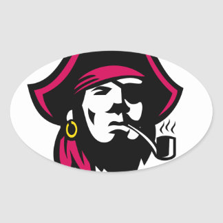 Buccaneer Smoking Pipe Retro Oval Sticker