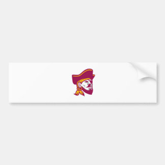 Buccaneer Wearing Tricorne Hat Icon Bumper Sticker